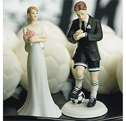 Soccer Groom and Exasperated Bride Couple Wedding Cake Top Figurines