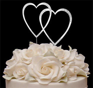 Bling Initial Double Hearts Diamante Rhinestone Crystal Letter Cake Toppers For Wedding Party Decoration 10pcs