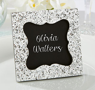 sparkle and shine silver place card frame