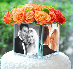 Wedding Square Glass Photo Vase