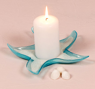 Blue Starfish Glass Candle Holders/Dishes Wedding Favors