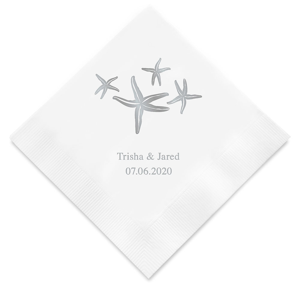 Starfish Personalized Wedding Napkins | Beach Wedding Napkins