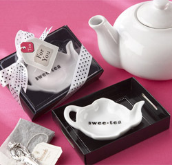 Swee-Tea Ceramic Tea-Bag Caddy Black and White Kitchen Wedding Favor