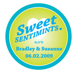 Sweet Sentimints Personalized Wedding Favor Stickers in Lime Green and Blue