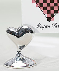 Swish Heart Wedding Place Card Holders Silver