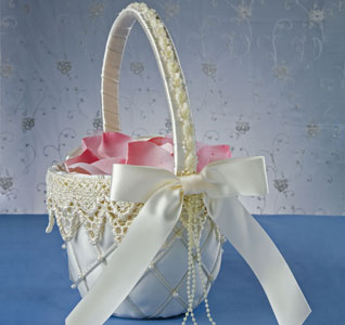 Swiss Dot White or Ivory Wedding Flower Girl Basket with Lace and Pearls