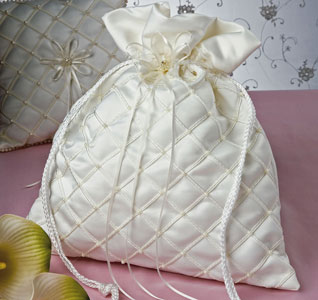Swiss Dot White or Ivory Wedding Money Bag with Lace and Pearls