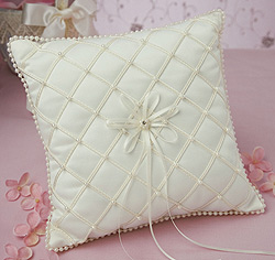 Swiss Dot White or Ivory Wedding Ring Bearer Pillow with Lace and Pearls