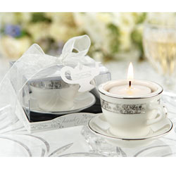 Miniature Teacups Porcelain Tealight Holders for Wedding Favors or Decor Silver and White