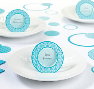 Teal Circle Name Place Cards