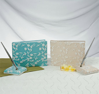 Timeless Lace Blue or Ivory Wedding Guest Book and Pen