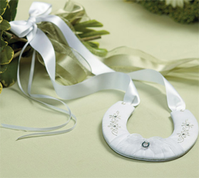 Traditional White Wedding Lucky Horseshoe