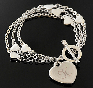 Triple Strand Silver Personalized Heart Bracele with Initial
