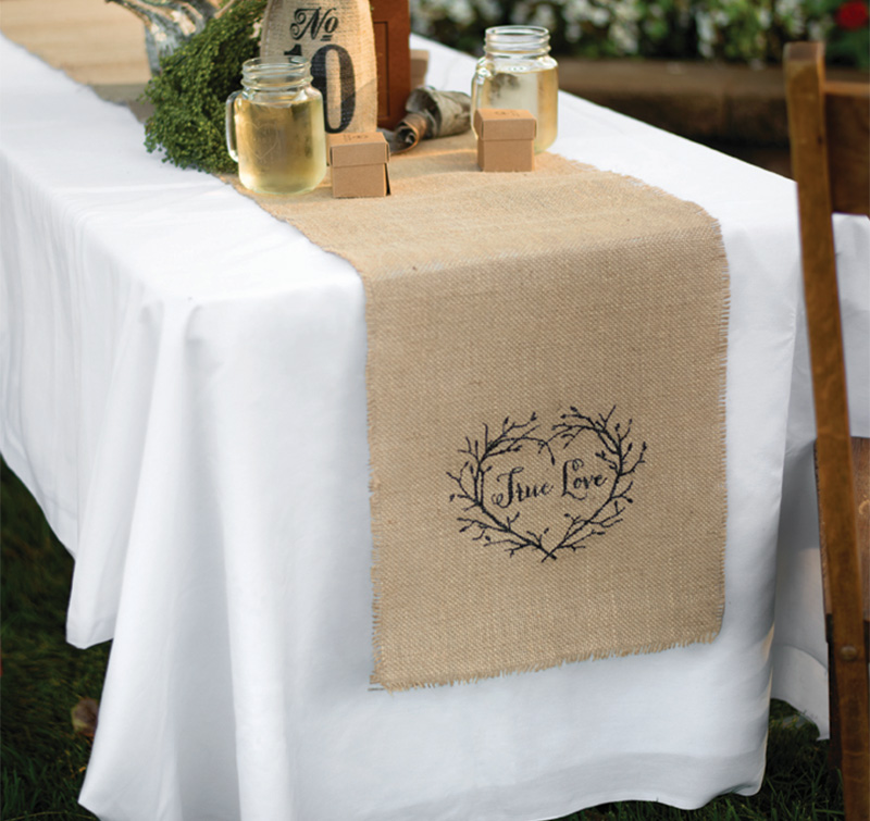 Wedding table runners personalized table runners true love burlap table runner junglespirit Images