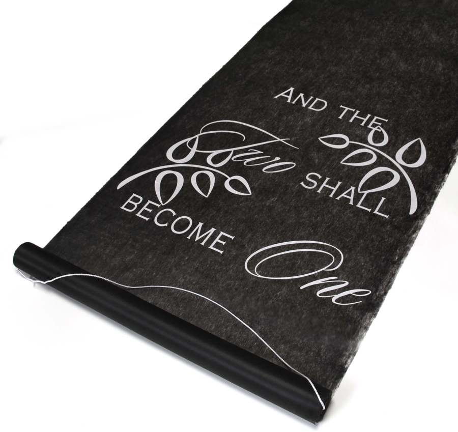 two shall become one black wedding aisle runner black