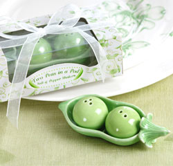 Two Peas in a Pod - Ceramic Salt & Pepper Shakers Green Kitchen Wedding Favors