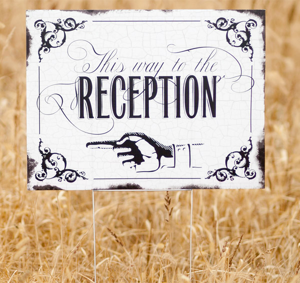 Vintage Wedding Reception Yard Sign