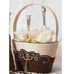 Pink Brown and Ivory Romantic Vintage Western Wedding Flower Girl Basket