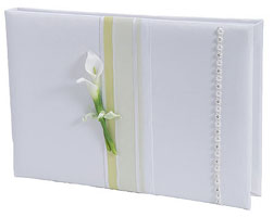 Calla Lily White and Green Wedding Guest Book