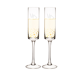 Mrs Gold Dotted Champagne Flutes