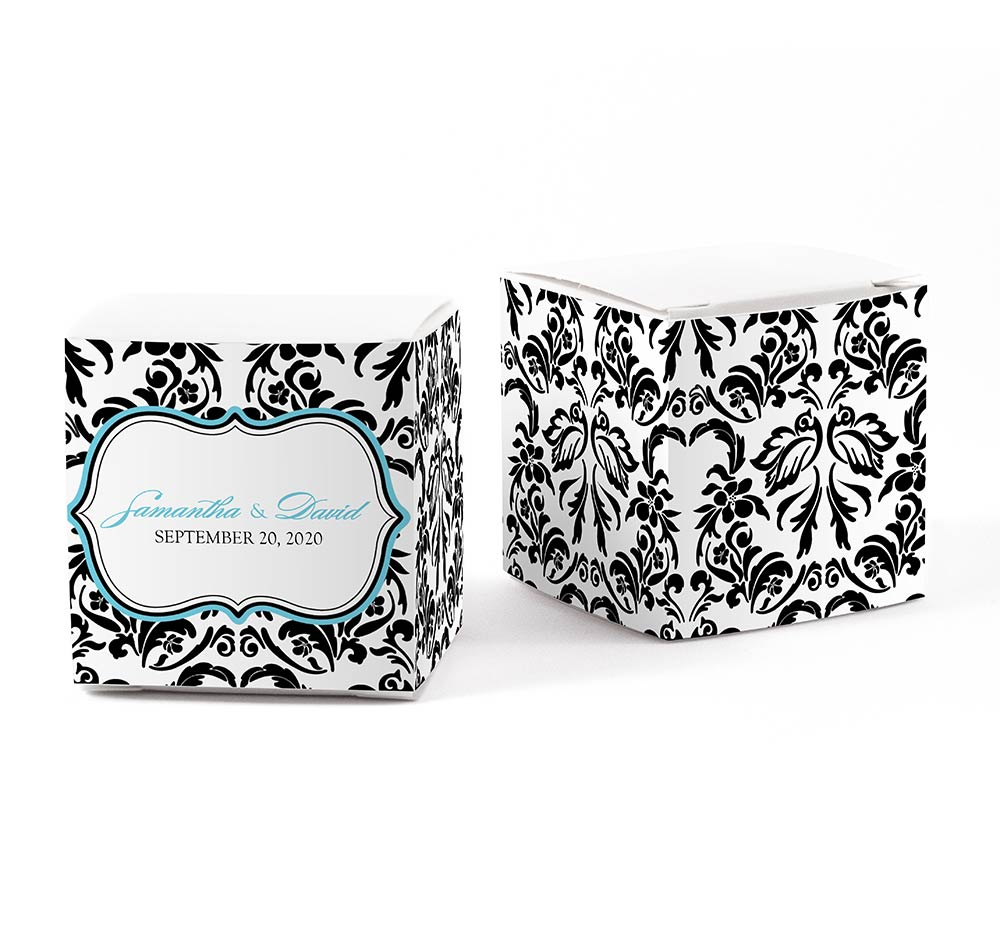 Love Bird Damask Wedding Favor Wraps | Favor Box Wrap