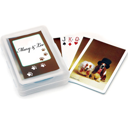 Wedding Hounds Personalized Wedding Favor Playing Cards in Brown and Ivory with Dog Paw Prints and Dogs