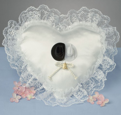 Western Heart Cowboy White Lace Ring Bearer Pillow