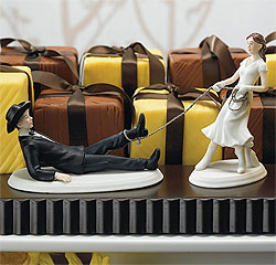 Western Lasso Bride and Groom Couple Wedding Cake Top Figurines