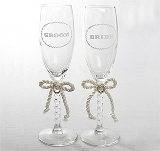 Western Wedding Bride and Groom Toasting Flutes