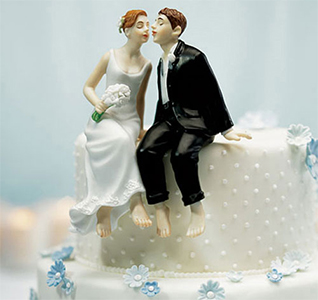 Whimsical Sitting Bride and Groom Wedding Cake Top Figurines