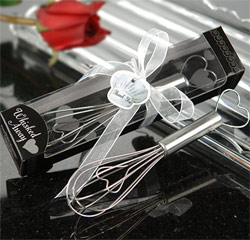 Whisked Away Heart Whisk Silver Black and White Kitchen Utensil Wedding Gifts or Favors