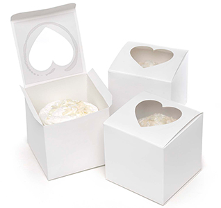 White Cupcake Favor Boxes