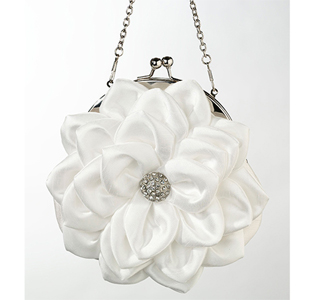 White Flower Girl Purse