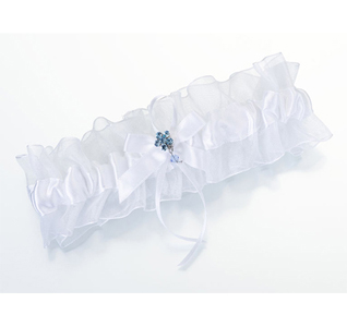White Wedding Garter with Something Blue Flower