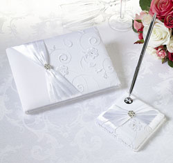 White Lace Wedding Guest Book and Pen