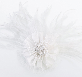 White Bridal Feather Hair Clip