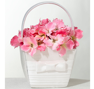 White Silk Flower Girl Basket