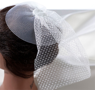 White Bridal Veil Headpiece