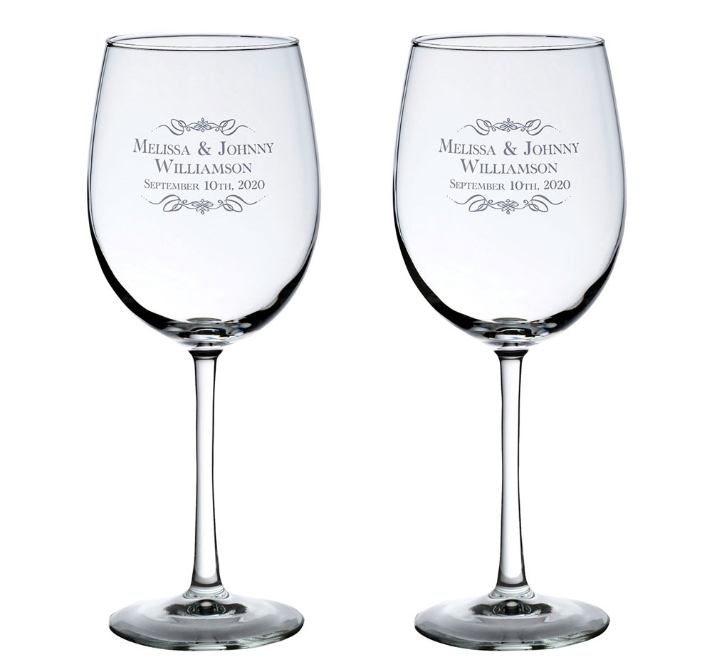 Names Wine Wedding Glasses | Personalized Scroll Wine Glasses