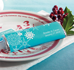 Winter Finery Personalized Wedding Chocolate Bar Favor in Tiffany Blue