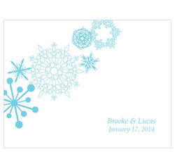 Winter Finery Personalized Wedding Note Cards in Blue Snowflakes