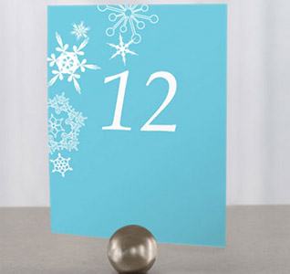 Winter Finery Personalized Wedding Table Numbers with Snowflakes in Aqua Blue