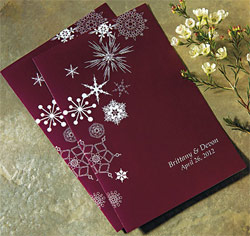 Winter Finery Personalized Wedding Bulletin in Berry Red/ Purple/ Maroon with White Snowflakes