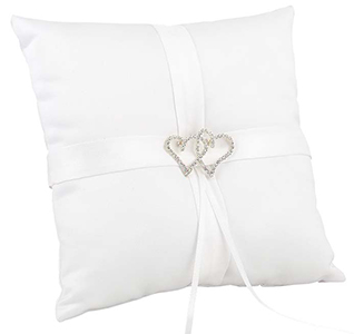 With All My Heart White Wedding Ring Bearer Pillow