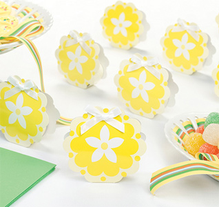 Yellow Flower Wedding Favor Boxes