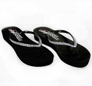 d1a6353d9 Crystal Low Wedge Bridal Flip Flops - Black