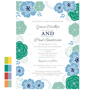 Bloom Flowers Plantable Wedding Invitations