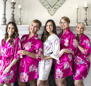 Bridal Party Floral Satin Robe with Initial 4e65d2659