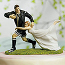 A Love Match Customized Bride and Groom Wedding Cake Top Figurines Playing Soccer
