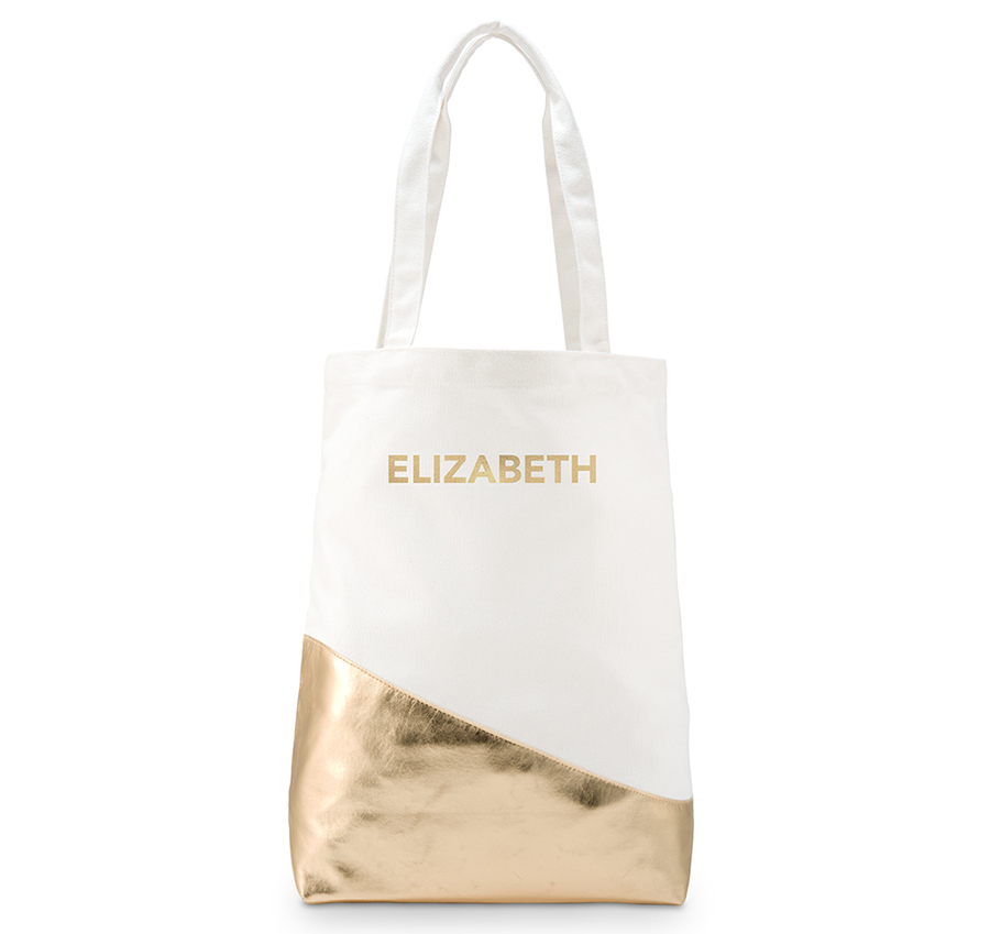 Gold Canvas Personalized Bridesmaid Tote Bag